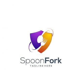 Cuillère et fourchette à logo