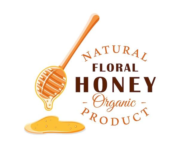 Cuillère avec des gouttes de miel isolé sur fond blanc. étiquette de miel, logo, concept d'emblème.