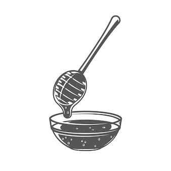 Cuillère de miel isolé sur fond blanc. illustration vectorielle