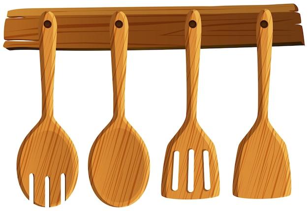 Cuillère et spatule accrochées au mur