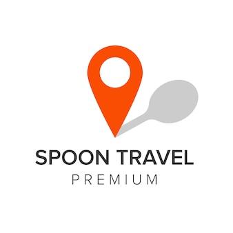 Cuillère voyage logo icône vecteur modèle