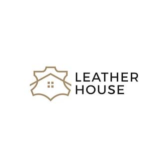 Cuir véritable maison boutique magasin logo icône vector illustration