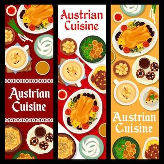 Cuisine autrichienne. ensemble de bannière verticale