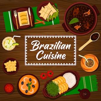 Cuisine brésilienne vecteur ragoût de haricots noirs feijoada, pamonha de purée de maïs sucré et boulettes de pommes de terre coxinha. ragoût de fruits de mer moqueca, couennes de porc torresmo, riz à l'orange ou cocktail au citron vert caipirinha, cuisine brésilienne