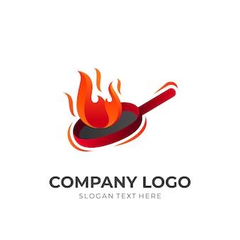 Cuisine chaude, feu et nourriture, logo combiné avec un style coloré 3d