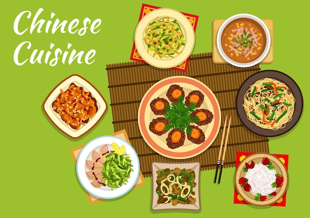 Cuisine Chinoise Avec Nouilles Croustillantes Et Salade De Canard Laqué, Poulet Kung Pao Vecteur Premium
