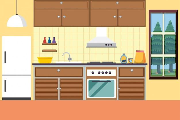 Cuisine avec cuisinière et réfrigérateur