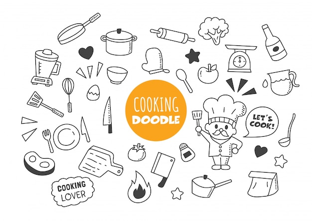 Cuisine doodle kawaii