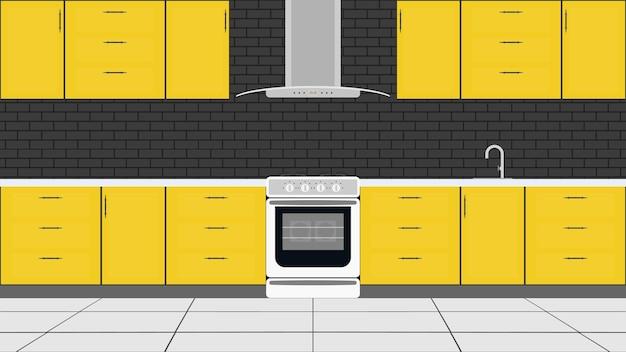 Cuisine élégante dans un style plat. armoires de cuisine jaunes, cuisinière, four.