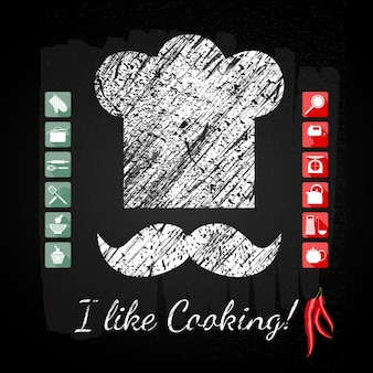 Cuisine ensemble icône chef cuisinier