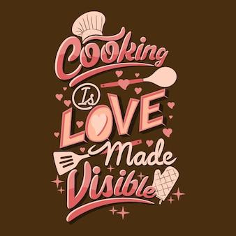 La cuisine est l'amour fait des citations visibles énonciations