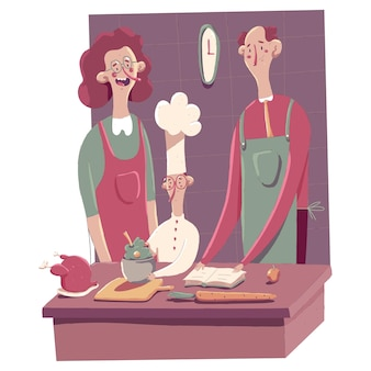 Cuisine familiale heureuse sur l'illustration de concept de dessin animé de cuisine isolée sur fond blanc.