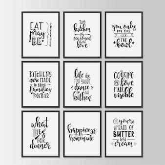 Cuisine heureuse sur l'affiche de typographie dessinée à la main