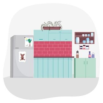 Cuisine intérieure réfrigérateur râpe vaisselle en étagère plantes mur de briques