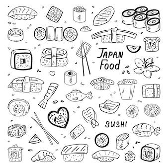 Cuisine japonaise et chinoise. nourriture, griffonnages. . style simple, adapté à la décoration de café.
