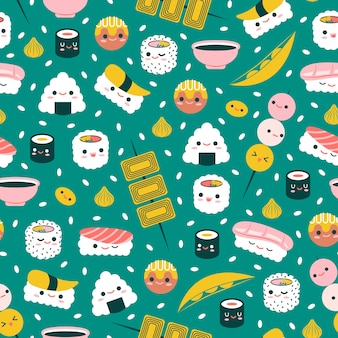 Cuisine japonaise - joli modèle sans couture
