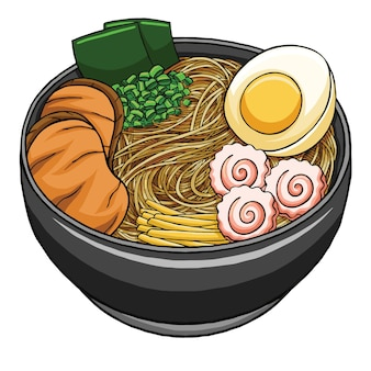 Cuisine japonaise de ramen dans un style design plat