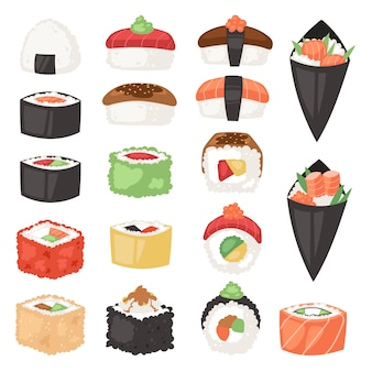 Cuisine japonaise sushi sashimi roll ou nigiri et apéritif avec du riz de fruits de mer au japon restaurant illustration japanization cuisine set isolé sur fond blanc