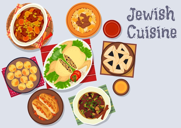 Cuisine juive avec falafel aux pois chiches, ragoût d'agneau aux fruits secs