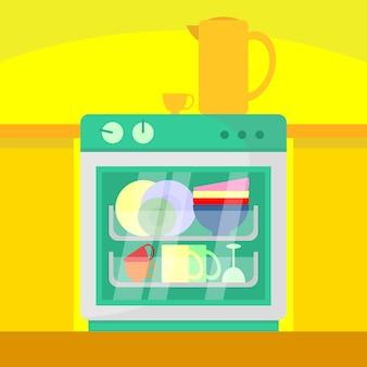 Cuisine lave-vaisselle home scene illustration
