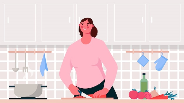 Cuisine à la maison. femme cuisine dans la cuisine activité de passe-temps ou passe-temps culinaire. illustration plate
