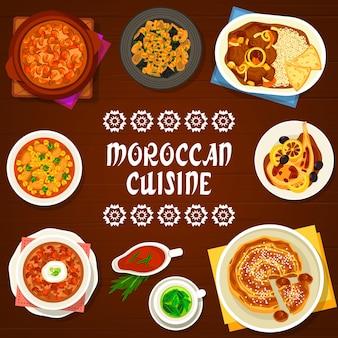 Cuisine marocaine au restaurant. harira, soupe d'orge perlée et poulet tomate, ragoût d'agneau aux dattes, poulet frit au citron confit et tarte aux figues et aux amandes, porc aux pruneaux et thé à la menthe