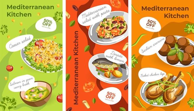 Cuisine méditerranéenne, salade césar, pâtes et saumon au bouillon de curry vert, dorada au citron, arancini sicilien, cuisse de poulet au four. bannière promotionnelle, menu de café ou de restaurant. vecteur à plat