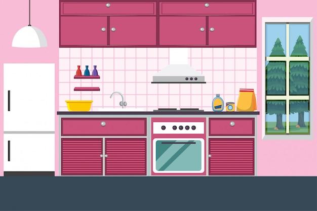 Cuisine avec des meubles en rose