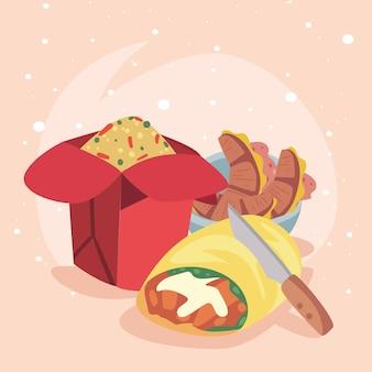 Cuisine mexicaine et chinoise avec croissant