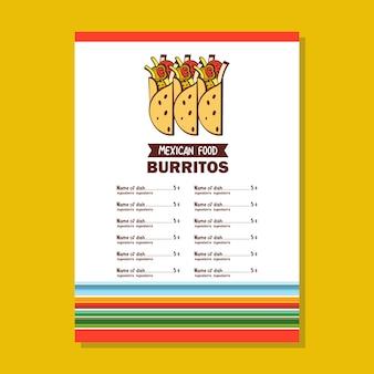 Cuisine mexicaine. un ensemble de plats mexicains populaires. fast food.