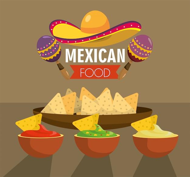 Cuisine mexicaine avec des sauces épicées traditionnelles