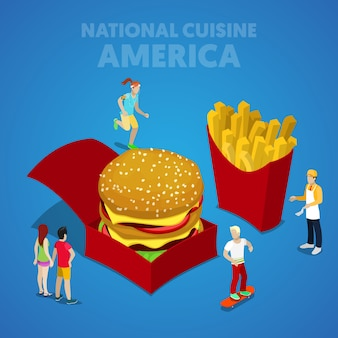 Cuisine nationale isométrique des états-unis avec restauration rapide et peuple américain. illustration de plat 3d vectorielle