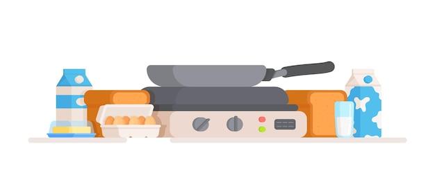 Cuisine préparée pour faire des œufs ou une omelette