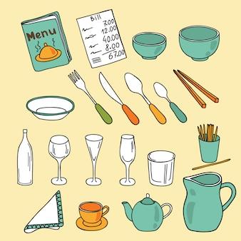Cuisine, restaurant, collection d'outils de café. illustration