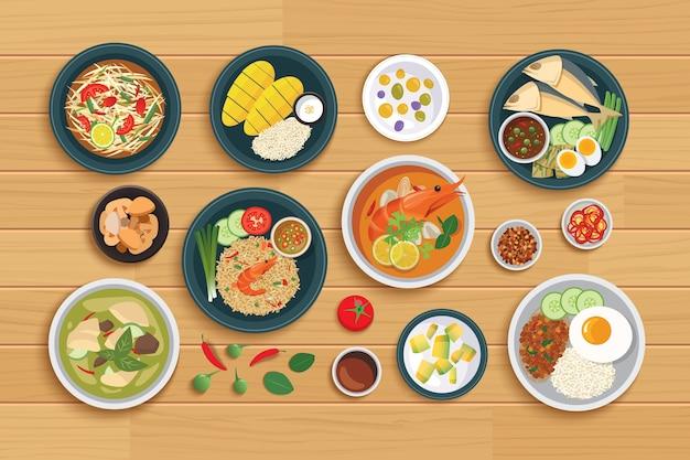 Cuisine thaïlandaise et ingrédient sur un fond en bois.