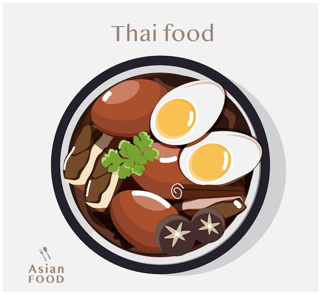 Cuisine thaïlandaise ragoût de porc et oeufs illustration