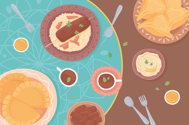 Cuisine traditionnelle arabe, vue de dessus