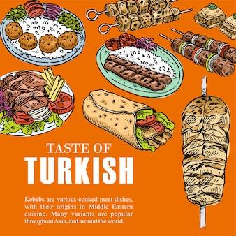 Cuisine turque dessinée à la main