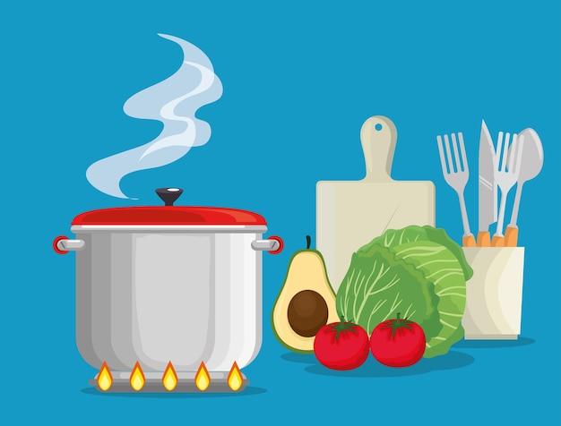 Cuisiner avec des aliments frais et biologiques