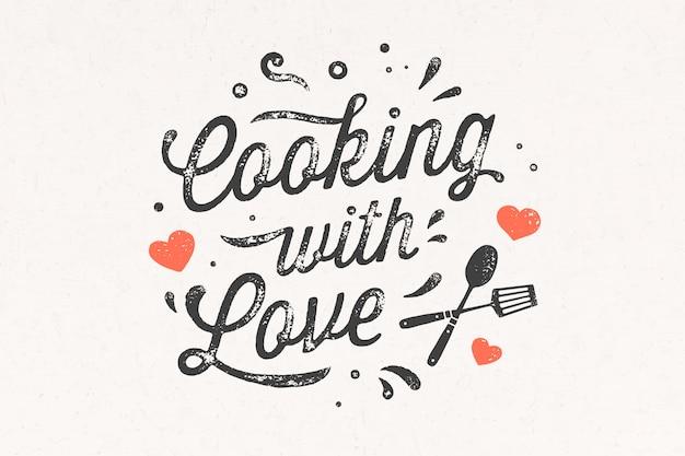 Cuisiner avec amour. affiche de cuisine. décoration murale de cuisine, signe, devis