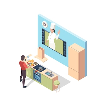 Cuisiner en ligne. préparer le chef de la leçon de diffusion de nourriture enseignant dans le concept isométrique vectoriel en ligne de cuisine. illustration cuisine en ligne, application cuisine et fait maison