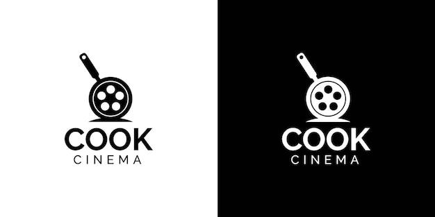 Cuisinier, cinéma, logo, conception, concept