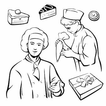 Cuisinier et morceau de gâteau. définir des symboles et des icônes de vecteur vintage.