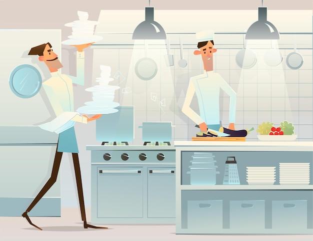 Cuisinier et serveur. personnel du restaurant qui travaille. homme cuisinant à l'aide d'un équipement professionnel. cuisinier, chef, aide à la cuisine.