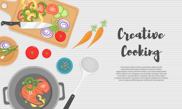 Cuisson des aliments sains dans la cuisine. repas utile sur table en bois. une alimentation saine, des légumes. vue de dessus illustration de l'ustensile de cuisine, planche à découper avec couteau, vaisselle, assiettes et différents aliments.