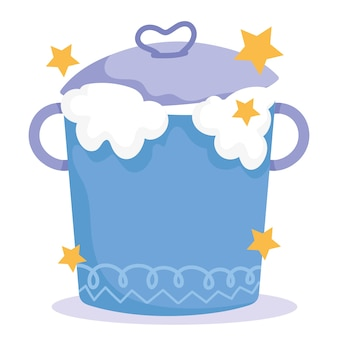 Cuisson, bidon avec mousse de lait, illustration de style dessin animé