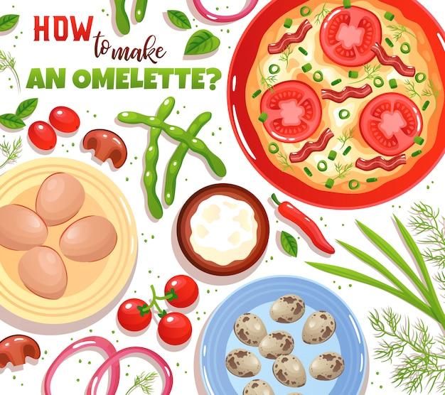 Cuisson d'omelette avec ingrédients oeufs légumes champignons et verdure sur illustration plat blanc