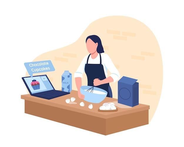 Cuisson de petits gâteaux avec tutoriel en ligne bannière web 2d, affiche