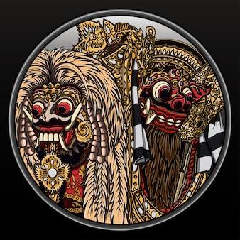 Culture Balinaise Rangda Et Barong. Vecteur Premium