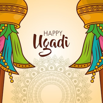 Culture de célébration de mandalas carte ugadi heureux